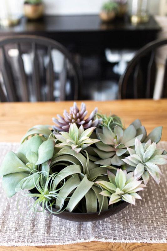Big bowl of succulents as centerpiece