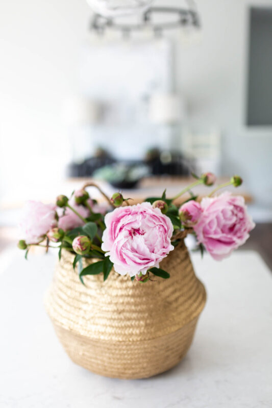 Gold basket with pink peonies