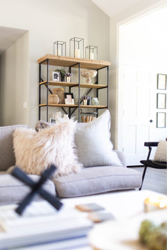 Open shelves with black and white decor
